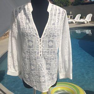 BCBGMaxAzria embroidered button front blouse
